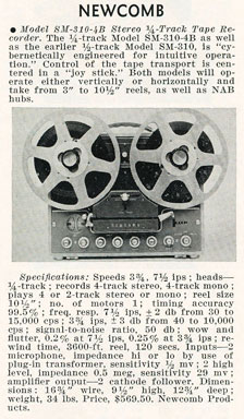 Newcomb Audio Products SM 310 B reel tape recorcer ad in the Reel2ReelTexas.com vintage recording collection
