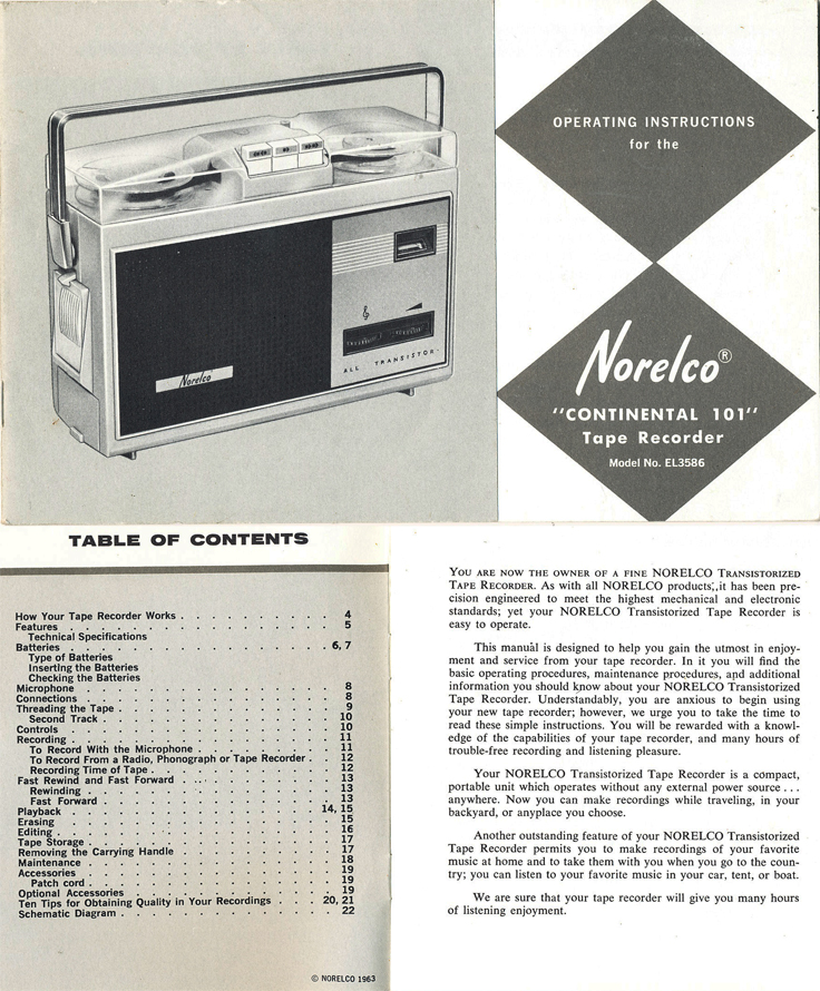 Norelco 101 reel to reel tape recorder manual in Reel2ReelTexas.com's vintage recording collection