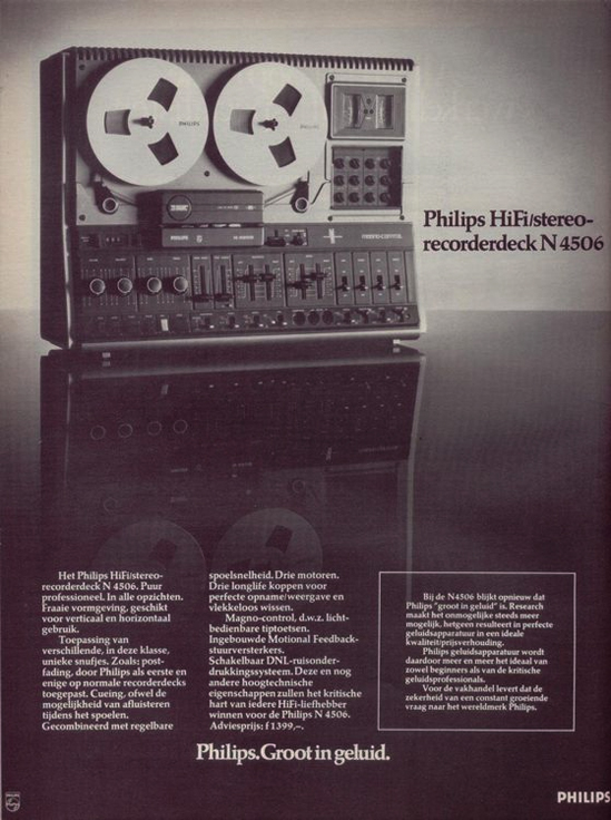 1977 Phillips N4506 reel tape recorder ad in Reel2ReelTexas.com vintage reel to reel tape recorder collection