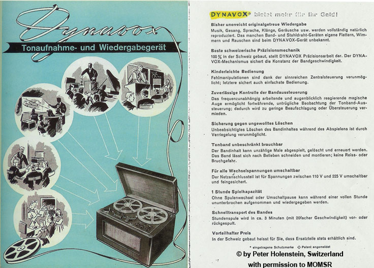 Early ad for the Studer Revox T-26 Dynavox with permission © by Peter Holenstein, Switzerland