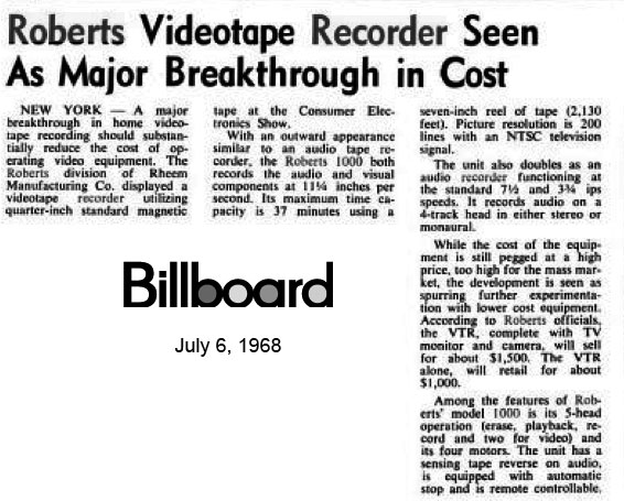 1968 Billboard article on the Roberts 1000 combination reel to reel reversing tape recorder with a built in black & white video capability