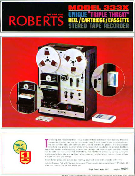 Roberts 333X the plays reel to reel, cassette and 8-Track tapes in one recorder in the Museum of magnetic Sound Recording