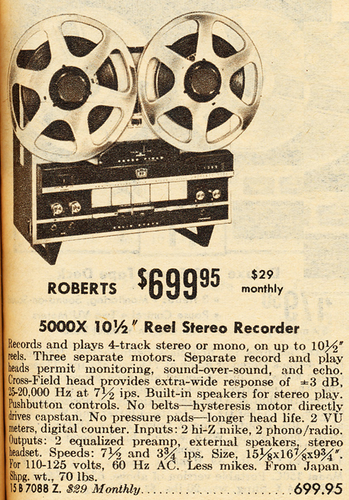 1968 Allied Radio catalog ad for the Roberts 5000X reel tape recorder in Reel2ReelTexas.com vintage tape recorder collection