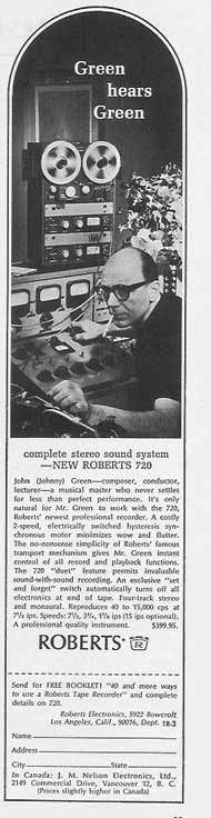 John(Johnny) Green endorsing Roberts Recorders