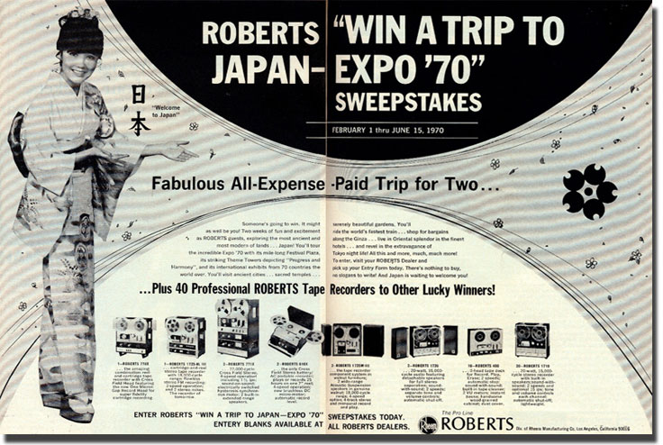 1970 ad sponsored by Rheem Roberts to win a trip to the 1970 Japan Expo in the Museum of MAgnetic Sound Recording