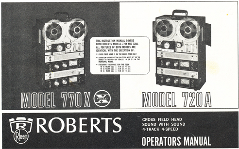 Roberts 770X manual cover in Reel2ReelTexas.com's vintage reel tape recorder collection