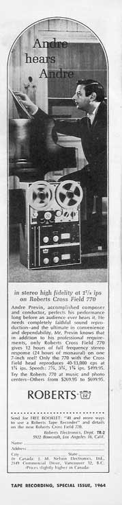 Andre Previn endorsing Roberts Recorders