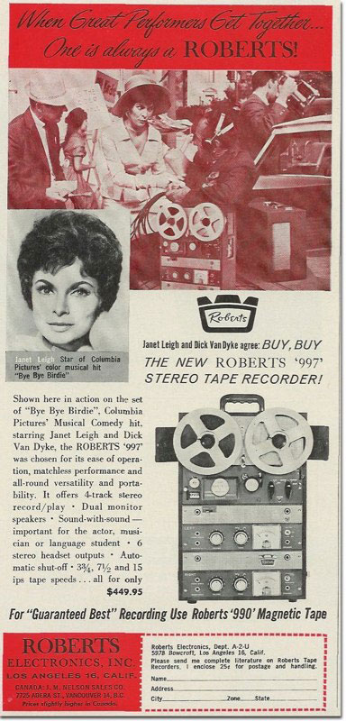 Janet Leigh endorsing Roberts Recorders