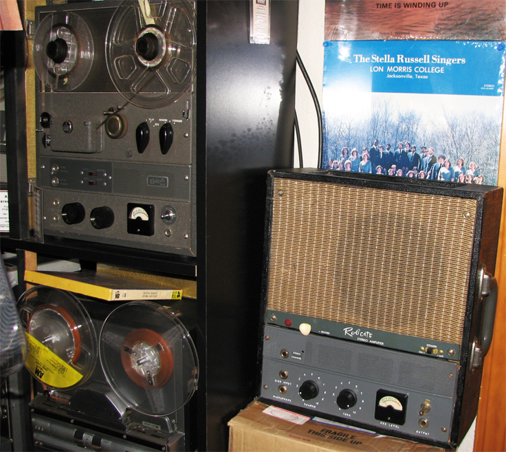 Roberts Duet reel to reel tape recorder with its companion amplifier and speaker system in the Reel2ReelTexas.com's vintage recording collection