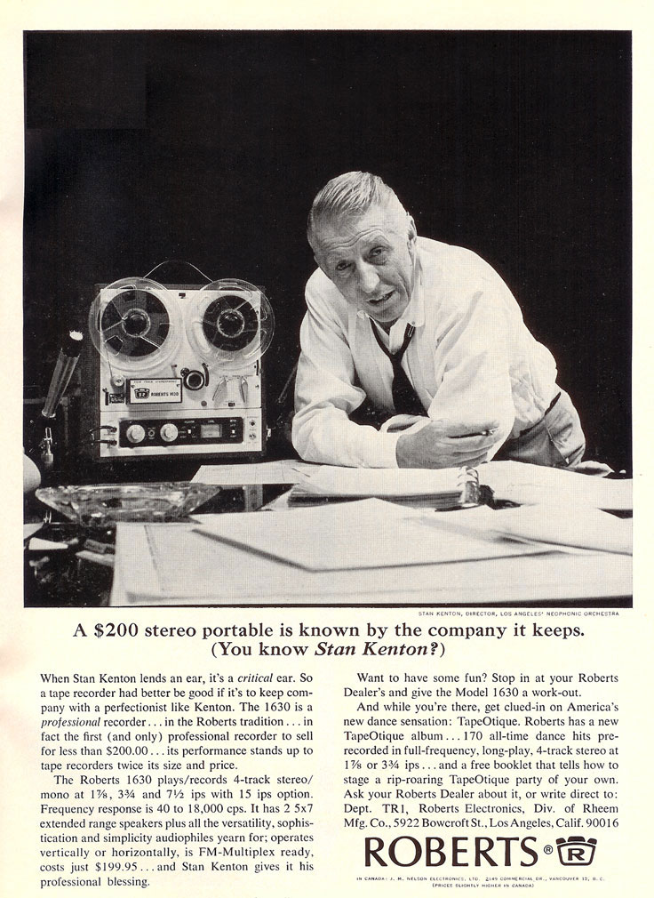 Stan Kenton in Roberts ad in 1965
