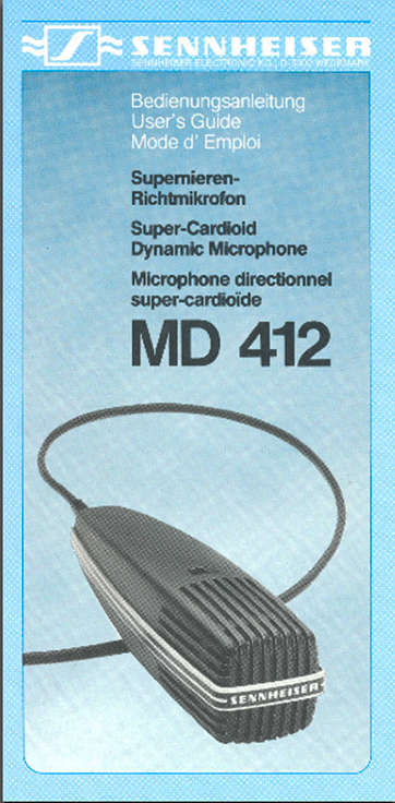 82 brochure for the Sennheiser MD-412 microphone in Phantom Productions' vintage recording collection