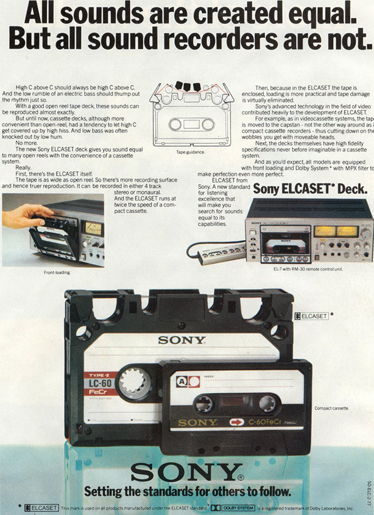 1976 ad for the Sony Elcaset in Reel2ReelTexas.com's vintage recording collection