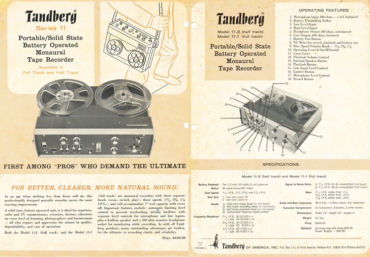 Tadberg 11 ads and manuals dontaed by Dr. Bruce Sommer in Australia
