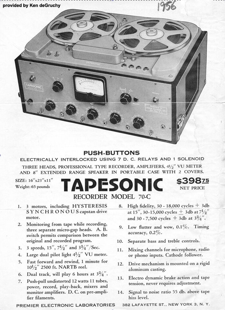 1956 Tapesonic ad provided by Kenneth de Gruchy
