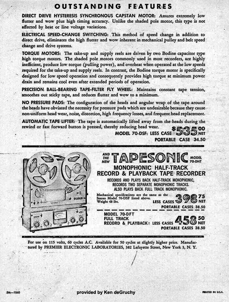 ad for the Tapesonic Model 70 ESF provided by Ken de Gruchy