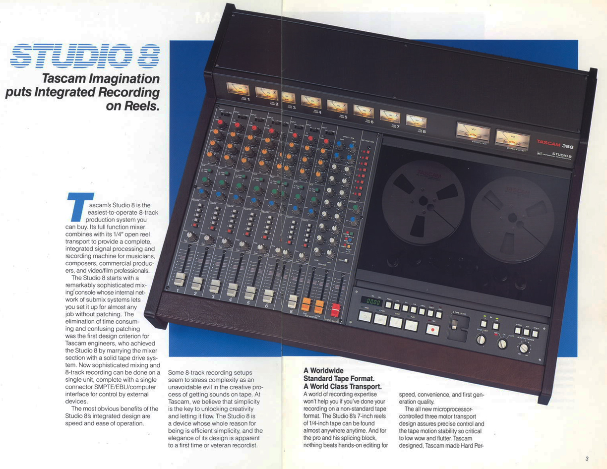 1987 Tascam 388 Studio 8 reel tape recoreder and mixer brochure in Reel2ReelTexas.com's vintage recording collection