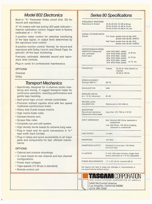 Specifications for the Tascam Series 80 professional reel to reel tape recorder ad in the Museum of magnetic Sound Recording