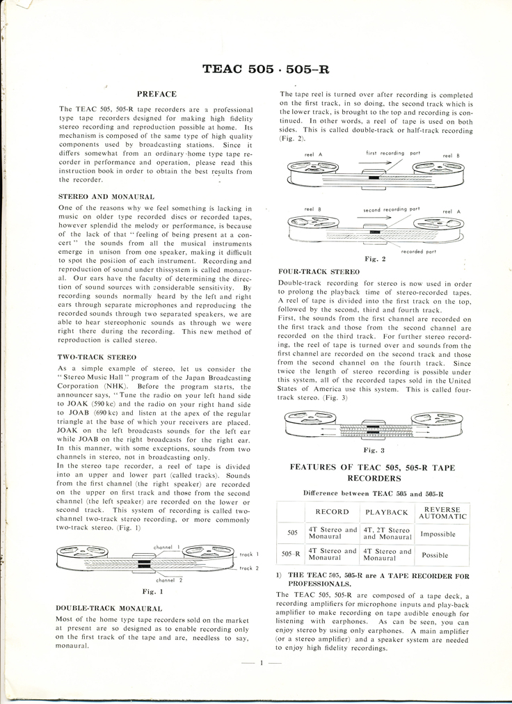 1961 manual for the Teac 505-R reel to reel tape recorder in Reel2ReelTexas.com's vintage recording collection