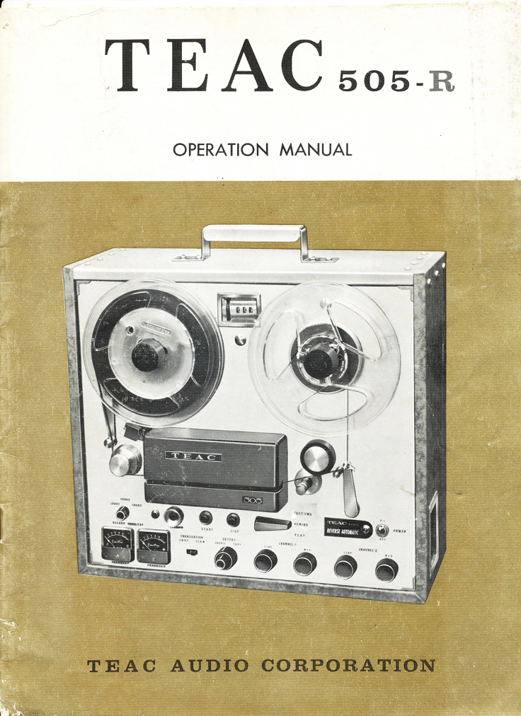 1960 Teac 505 reel tape recorder manual cover in   Reel2ReelTexas.com's vintage recording collection