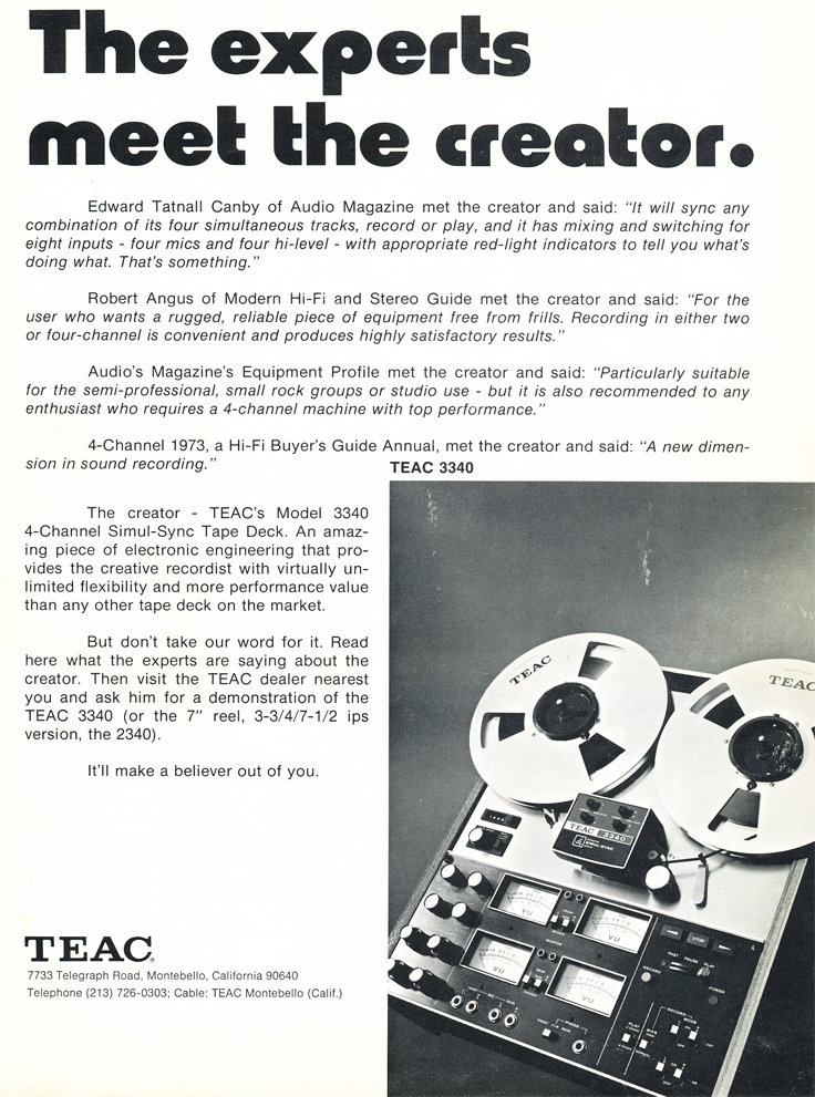 Ad for the Teac A-3340 4 track simul-Sync reel to reel tape recorder in the Phantom Productions, Inc.'s Reel2ReelTexas.com