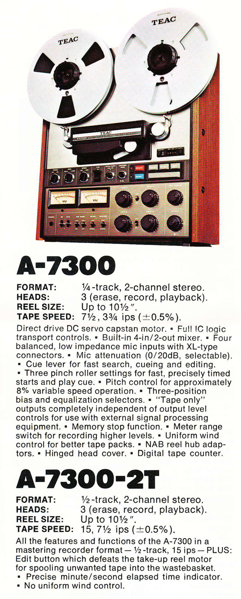 Teac A7300 ad in Reel2ReelTexas.com vintage tape recorder collection