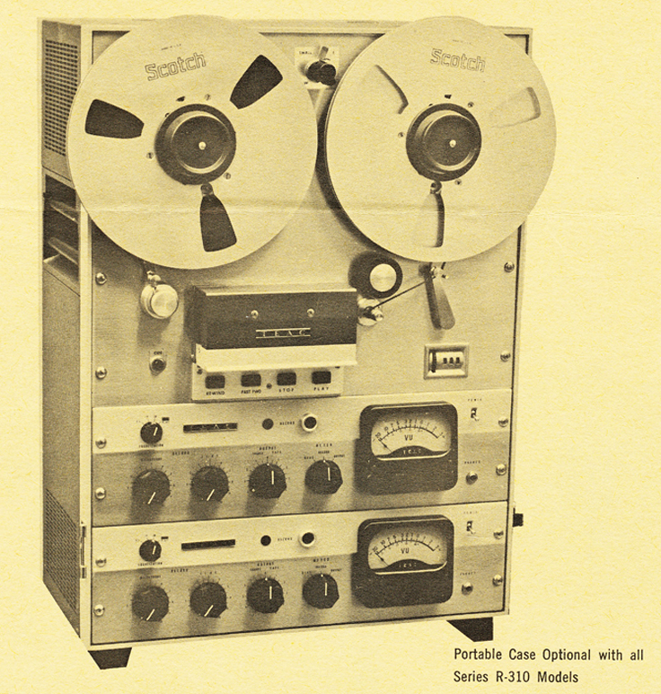 Teac Model R-310 reel to reel tape recorder ad in the Phantom Productions, Inc.'s Reel2ReelTexas.com