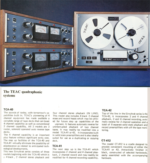 Teac TCA-40 brochure ad in   Phantom Productions' vinage reel to reel tape  recorder collection