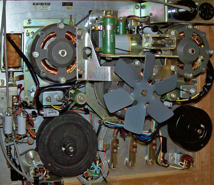 Inside the Teac TD-105 reel to reel tape recorder photo in the Museum of Magnetic Sound Recording