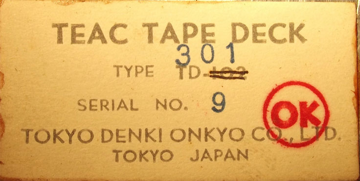 Tag on the Teac TD-301