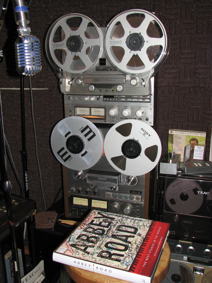 Teac X1000R reel to reel tape recorder with its dust cover  in the Reel2ReelTexas.com's vintage recording collection