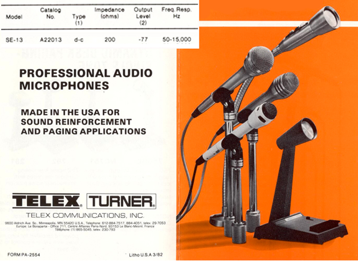 Turner SE13 microphone in Reel2ReelTexas.com's vintage recording collection