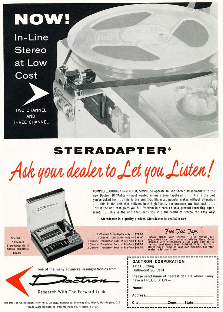 Sterapapter to add a stereo head to a tape recoder - ad is in Reel2ReelTexas.com's vintage recording collection