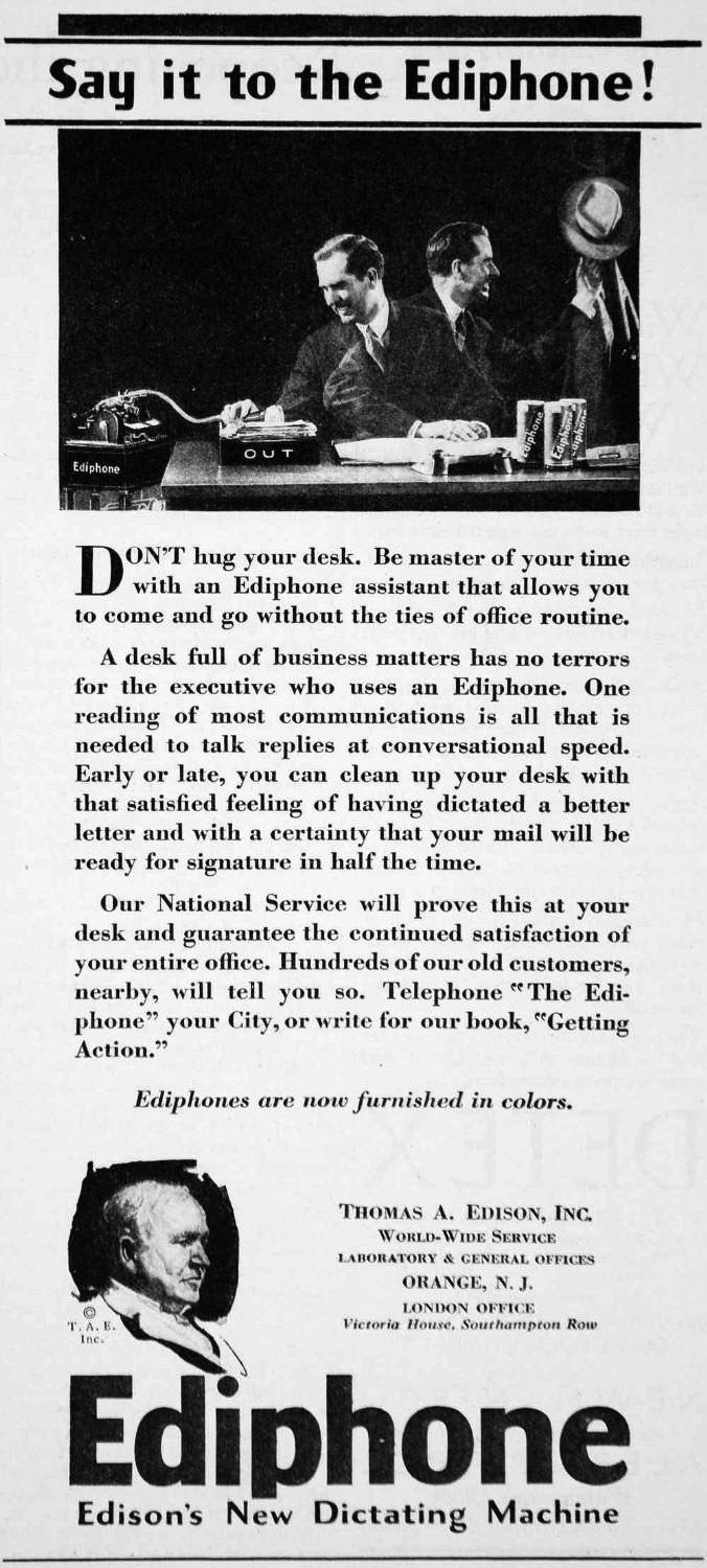 1928 Edison Ediphone ad in the Reel2ReelTexas.com vintage recording collection