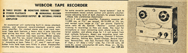 1959 Lafayette Radio catalog listing for the Webcor Regent reel tape recorderin Reel2ReelTexas.com's vintage recording collection
