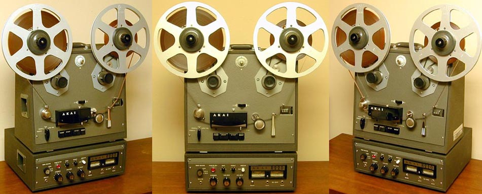 "1960's Akai 33D reel tape recorder eith 10"" reel extenders - Photo by Dave Hutton from his collection, as seen on Steven L. Bender's Akai Web site"