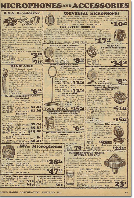picture of microphones in the 1931 Allied Radio catalog