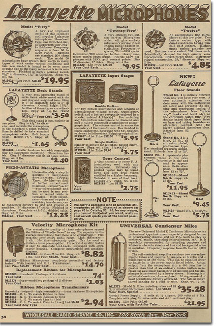 picture of microphones 1934 Lafayette Radio catalog