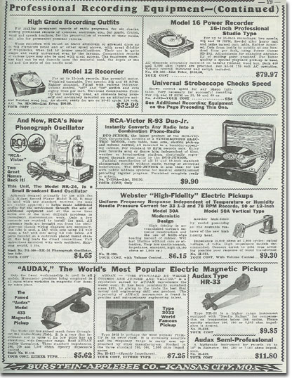 picture of recording equipment available in  the1935 Burstein Applebee Radio catalog