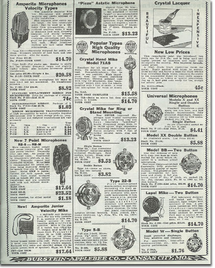 picture of microphone equipment available in  the1935 Burstein Applebee Radio catalog