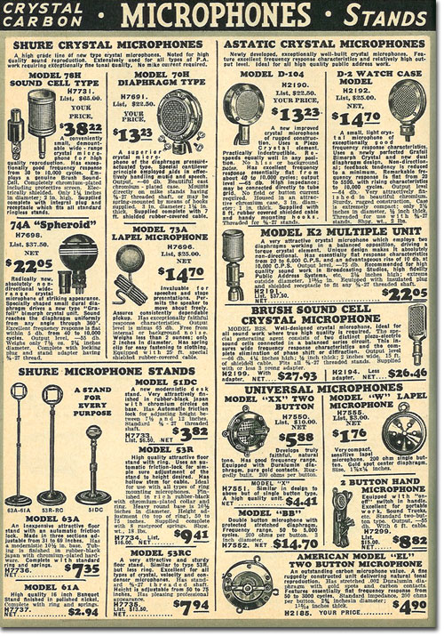 picture of microphones in the 1936 Allied Radio catalog