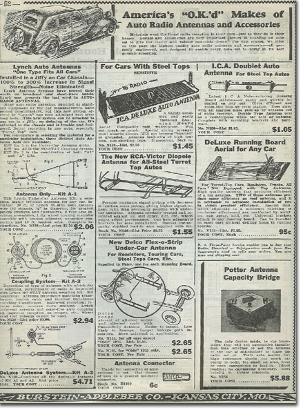 picture of auto radio items in the1936 Burstein Applebee Radio catalog