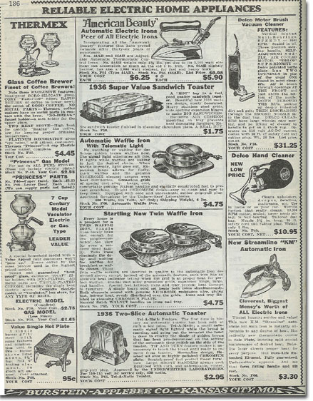 picture of home itemss in the1936 Burstein Applebee Radio catalog