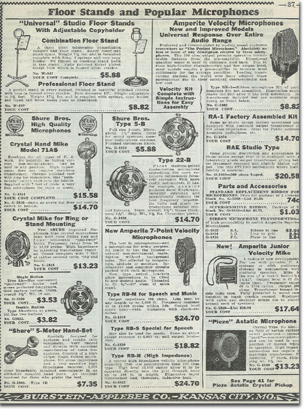 picture of microphones in the1936 Burstein Applebee Radio catalog