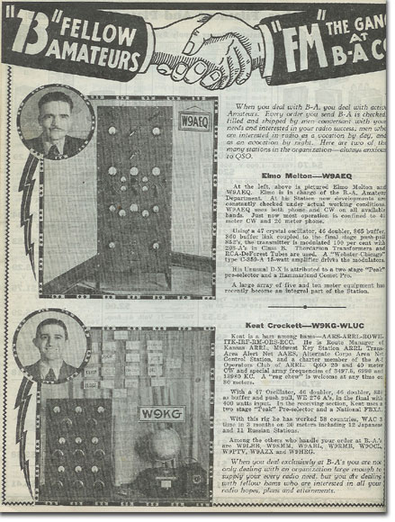 picture of BA owners and their Ham Radio work in the1936 Burstein Applebee Radio catalog