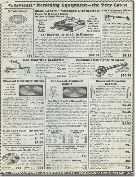 picture of recording items in the1936 Burstein Applebee Radio catalog