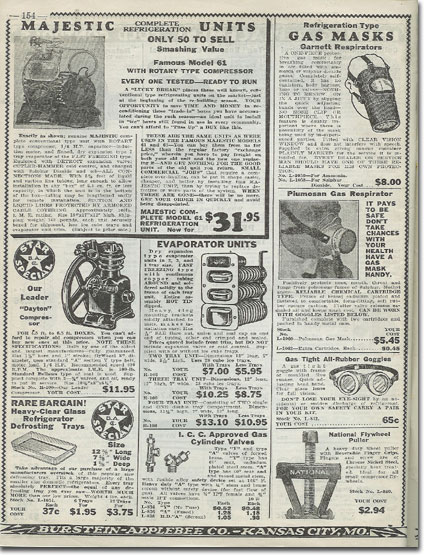 picture of refrigeration items in the1936 Burstein Applebee Radio catalog