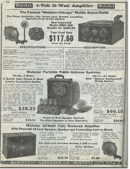 picture of items in the1936 Burstein Applebee Radio catalog