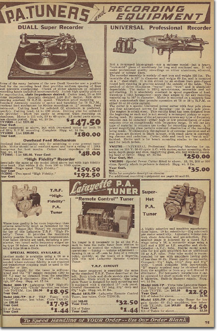 picture of recording devices in the 1936 Lafayette Radio catalog
