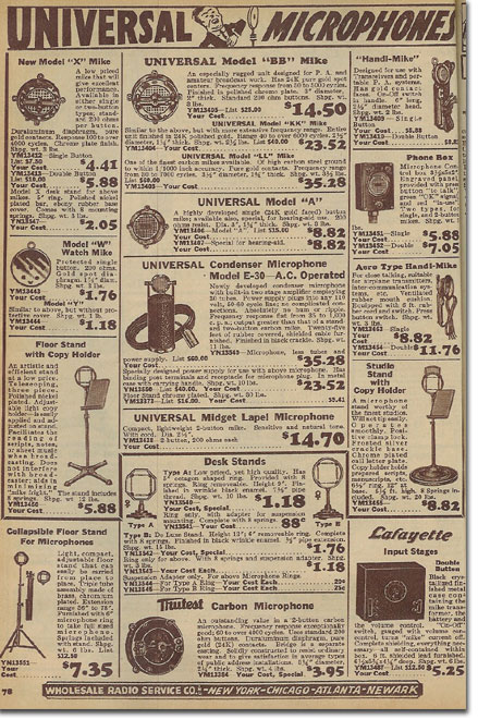 picture of microphones in the 1936 Lafayette Radio catalog