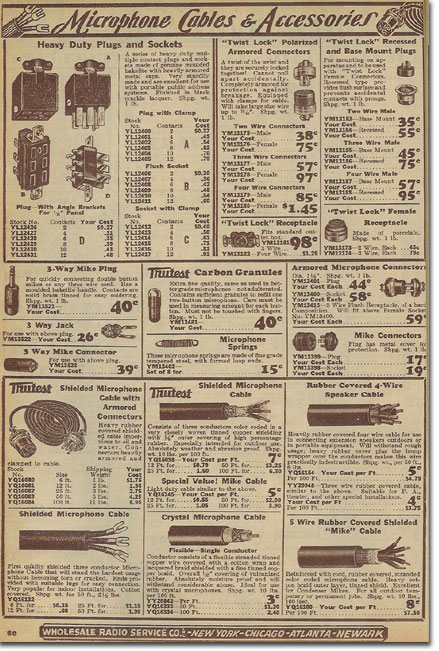 picture of microphone assessories in the 1936 Lafayette Radio catalog